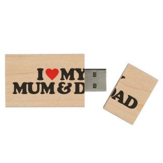I LOVE MY MUM & DAD WOOD USB 2.0 FLASH DRIVE