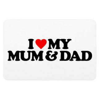 I LOVE MY MUM & DAD RECTANGULAR MAGNETS