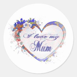 I love my Mum, Floral Heart Classic Round Sticker