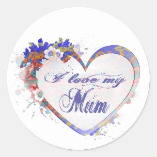 I love my Mum Floral Heart Design Classic Round Sticker