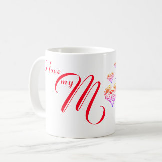 I love my Mum|Mom ~ Mothers Day Floral Heart  Mug
