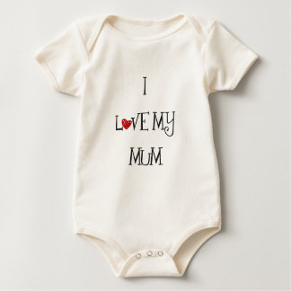 I Love My Mum with Red Heart O Baby Bodysuit