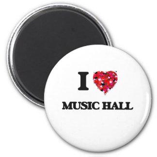 I Love My MUSIC HALL 6 Cm Round Magnet