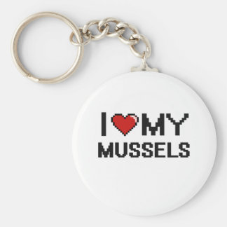I Love My Mussels Digital design Basic Round Button Key Ring
