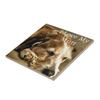 I Love My Mutt Small Square Tile