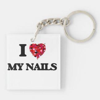 I Love My Nails Double-Sided Square Acrylic Key Ring