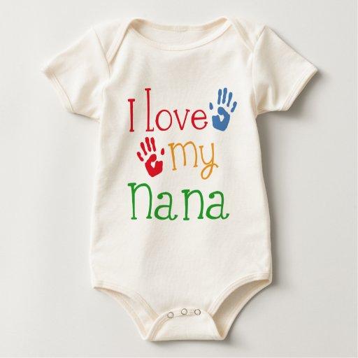 I Love My Nana Handprints Baby Bodysuits
