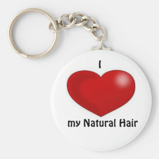 I love my natural hair basic round button key ring