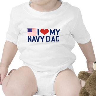I LOVE MY NAVY DAD BABY BODYSUITS
