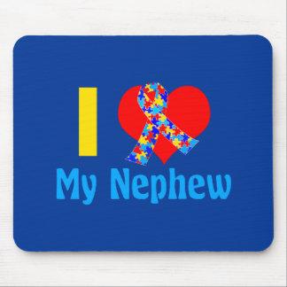 I Love My Nephew Autism Awareness Blue Mouse Mat