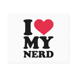 I love my nerd stretched canvas print