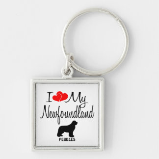 I Love My Newfoundland Custom Keychain