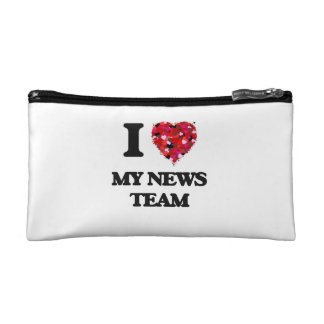 I Love My News Team Cosmetic Bags