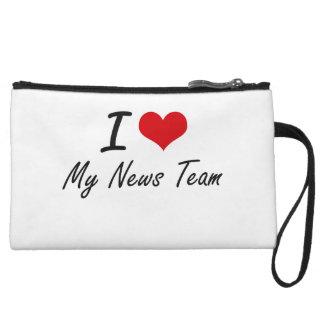I Love My News Team Wristlet Clutches