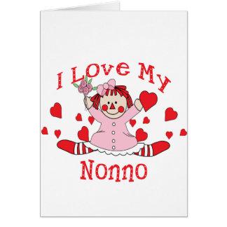 I love My Nonno Rag Doll & Hearts Greeting Card