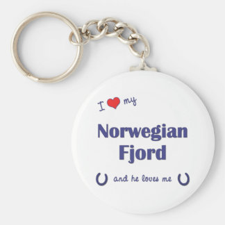 I Love My Norwegian Fjord (Male Horse) Basic Round Button Key Ring