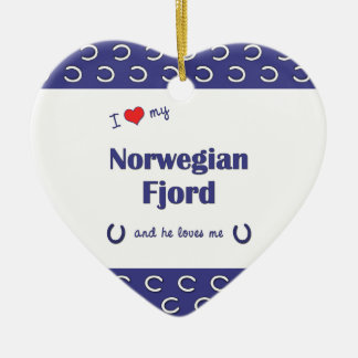 I Love My Norwegian Fjord (Male Horse) Ceramic Heart Decoration