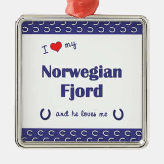 I Love My Norwegian Fjord (Male Horse) Silver-Colored Square Decoration
