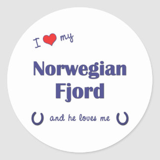 I Love My Norwegian Fjord (Male Horse) Round Sticker