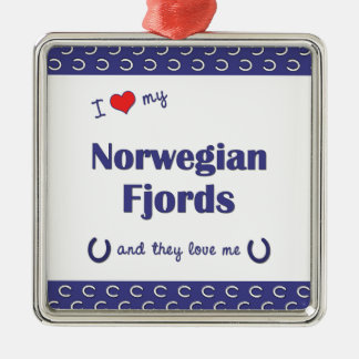 I Love My Norwegian Fjords (Multiple Horses) Silver-Colored Square Decoration