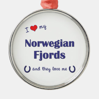 I Love My Norwegian Fjords (Multiple Horses) Silver-Colored Round Decoration