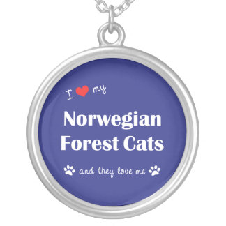 I Love My Norwegian Forest Cats (Multiple Cats) Silver Plated Necklace