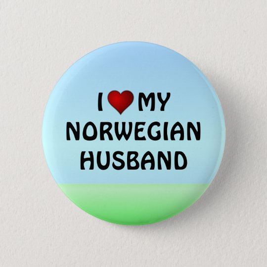 I LOVE MY NORWEGIAN HUSBAND pinback button