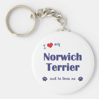I Love My Norwich Terrier (Male Dog) Key Ring