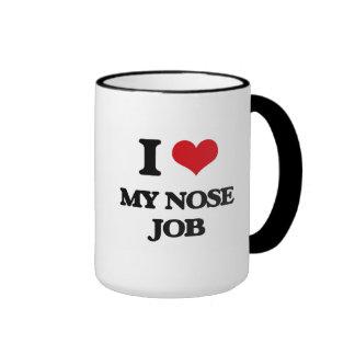 I Love My Nose Job Ringer Coffee Mug