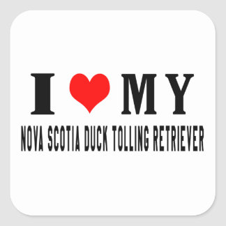 I Love My Nova Scotia Duck Tolling Retriever Square Stickers