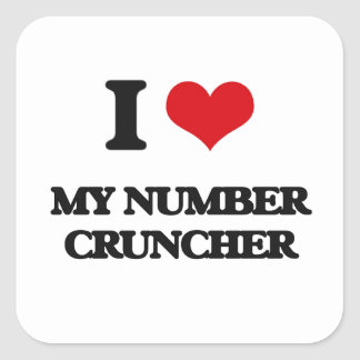 I Love My Number Cruncher Square Stickers