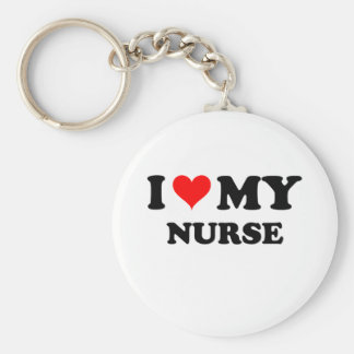I Love My Nurse Basic Round Button Key Ring