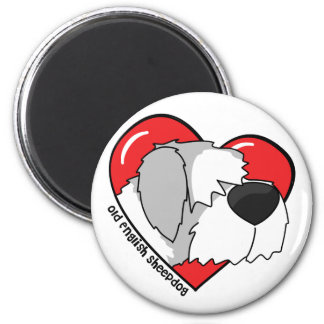 I Love my Old English Sheepdog 6 Cm Round Magnet