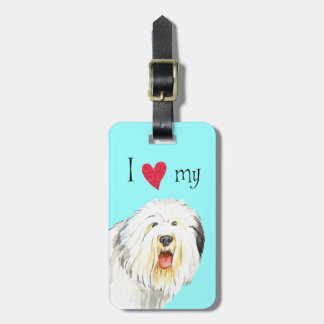 I Love my Old English Sheepdog Bag Tag