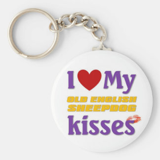 I love my Old English Sheepdog Kisses Basic Round Button Key Ring
