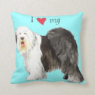 I Love my Old English Sheepdog Throw Pillow
