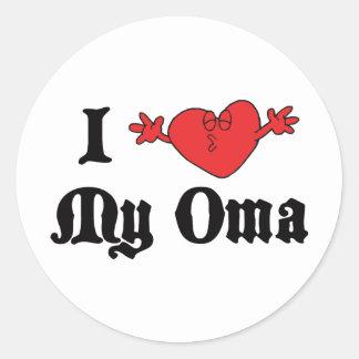 I Love My Oma Round Stickers
