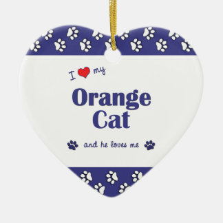 I Love My Orange Cat (Male Cat) Christmas Ornament