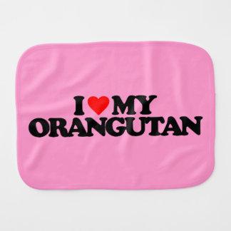 I LOVE MY ORANGUTAN BURP CLOTH