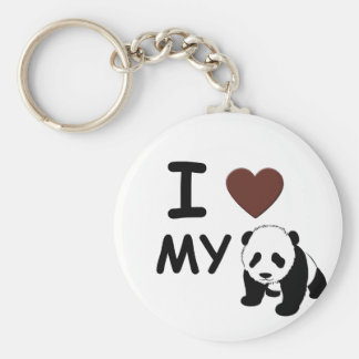 I LOVE MY PANDA BASIC ROUND BUTTON KEY RING