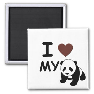 I LOVE MY PANDA SQUARE MAGNET