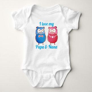 """I Love My Papa and Nana"" Owl Pair Baby Bodysuit"