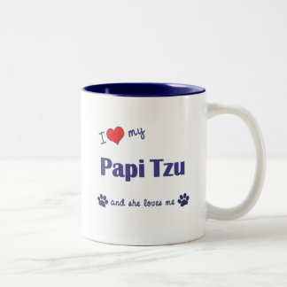 I Love My Papi Tzu (Female Dog) Coffee Mugs