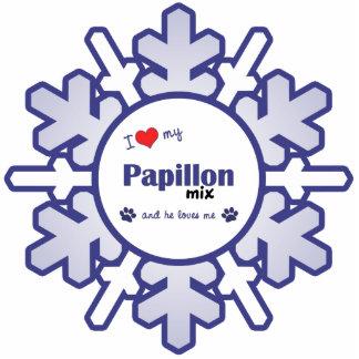 I Love My Papillon Mix (Male Dog) Photo Sculpture Decoration