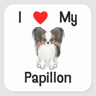I Love My Papillon (picture) Square Sticker