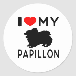 I Love My Papillon. Round Sticker