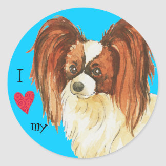 I Love my Papillon Round Stickers