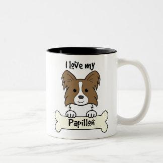 I Love My Papillon Two-Tone Coffee Mug