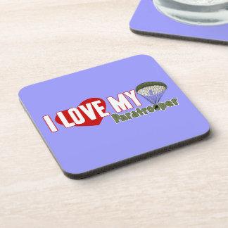 I Love My Paratrooper Drink Coaster