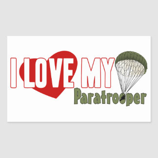 I Love My Paratrooper Rectangle Stickers